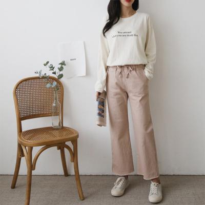 여성 심플 부드러운 코튼 레터링 오버핏 긴팔 티셔츠