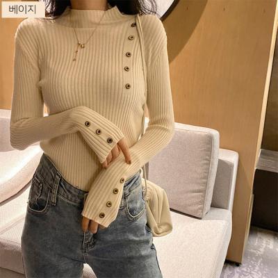 여성 유니크 버튼 단추 포인트 스키니 니트 티셔츠