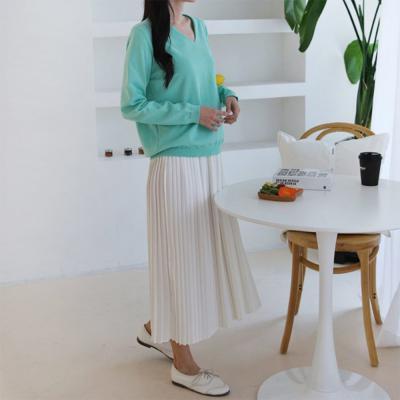 여성 심플 쿠키 브이넥 부드러운 니트 긴팔 티셔츠