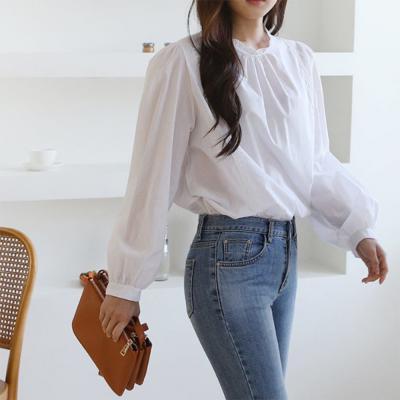 여자 봄 레이스 라운드 퍼프 블라우스 티셔츠 남방 셔츠