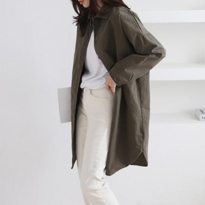 여자 봄 2020 신상 롱남방 롱셔츠 긴팔 버튼 레이어드 셔츠자켓 면 코튼 심플 무지 오버핏 루즈핏 뒷 포켓 포인트 일자 자켓