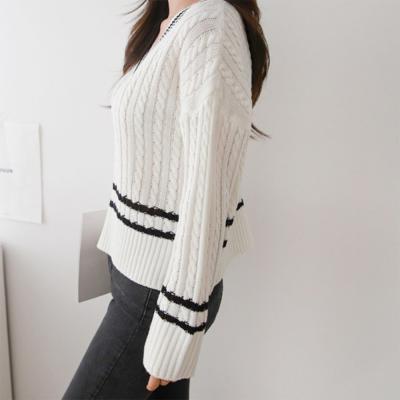 여자 봄 신상 깊은 브이넥 숏컷 꽈배기 니트 티셔츠