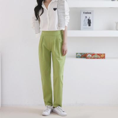 [1+1] 여자 봄 신상 뒷밴딩 국내산 테이퍼드핏 코튼 팬츠 면 바지