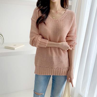 [1+1] 여자 봄 신상 그물 브이넥 오버핏 엠보 니트 긴팔 티셔츠
