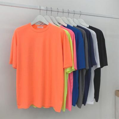 남자 봄 오버핏 부드러운 찰랑 형광 비비드 반팔 티셔츠