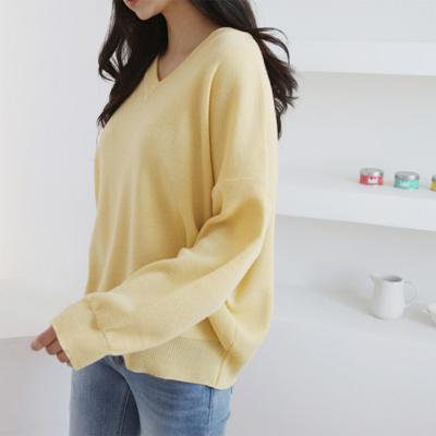 여자 봄 신상 7컬러 데일리 얇은 브이넥 니트 티셔츠
