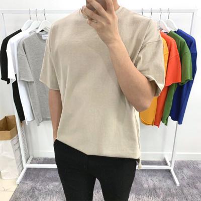 [1+1] 남자 비비드 여름 오버핏 옆트임 레이어드 반팔 티셔츠