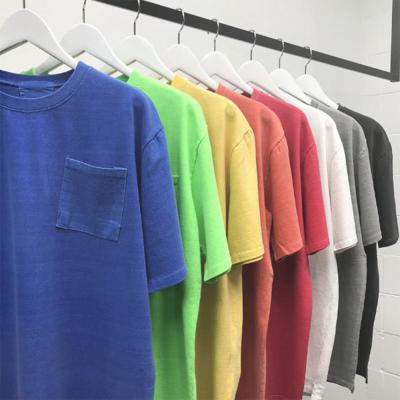 [1+1] 남자 앞 포켓 라운드넥 오버핏 피그먼트 형광 반팔 티셔츠