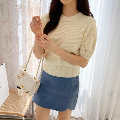 여자 봄 여름 하찌 크롭핏 라운드넥 니트 반팔 티셔츠