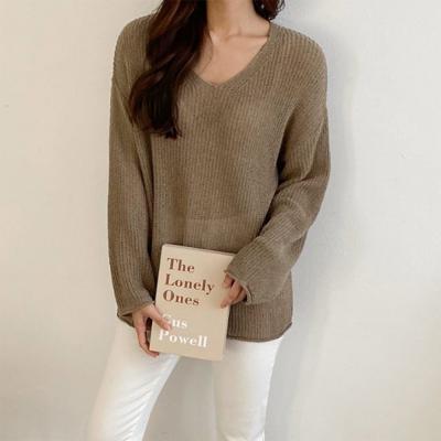 여자 보헤미안 루즈핏 브이넥 니트 긴팔 티셔츠