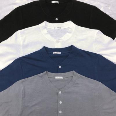 남자 헨리 버튼 기본핏 반팔 티셔츠