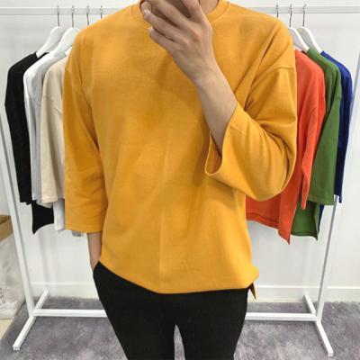 남자 라운드넥 오버 10수 7부 반팔 봄 여름 티셔츠