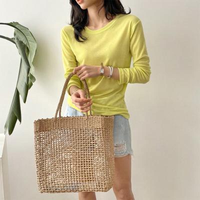 여자 봄 신상 얇은 라운드넥 부드러운 골지 긴팔 티셔츠