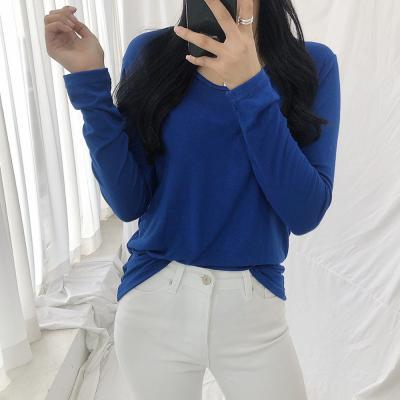여자 봄 데일리룩 8컬러 베이직 라운드 긴팔 티셔츠