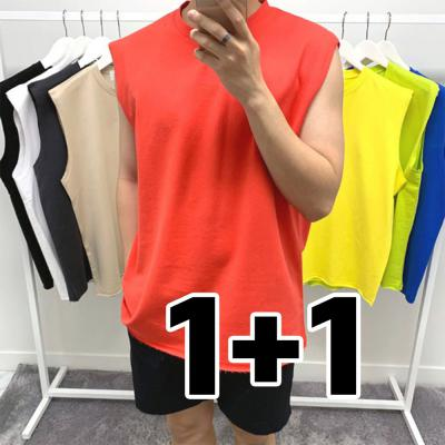[1+1] 남자 오버핏 박스핏 쭈리 나시 티셔츠
