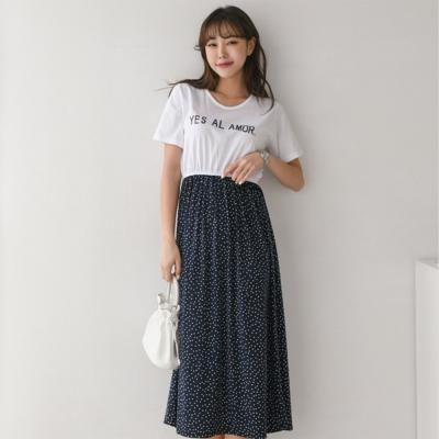 여자 봄 여름 티셔츠 레이어드 도트 땡땡이 원피스
