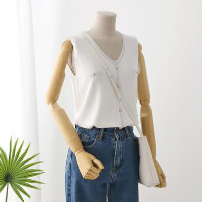 여자 진주 버튼 브이넥 조끼 민소매 티셔츠