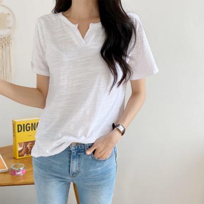 [1+1] 여자 편한 브이넥 슬라브 반팔 데일리 홈웨어 티셔츠