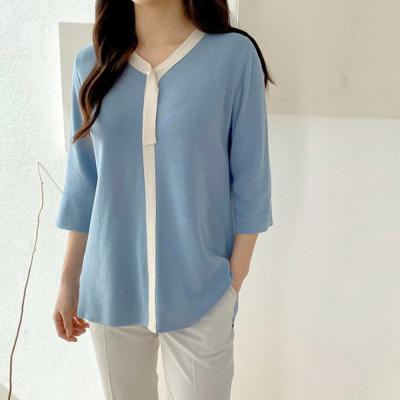여자 진주 타이 7부 소매 브이넥 니트 티셔츠