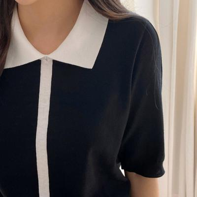여자 봄 여름 라인 카라 니트 반팔 티셔츠