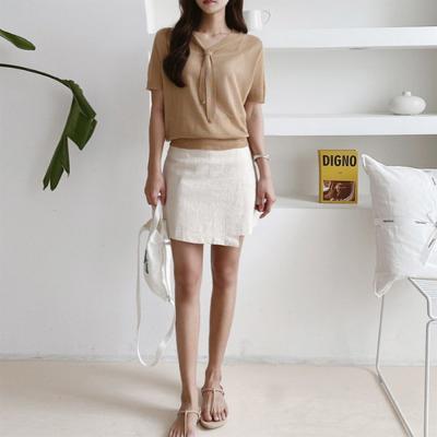 여자 여름 무지 타이 반팔 베이지 니트 티셔츠