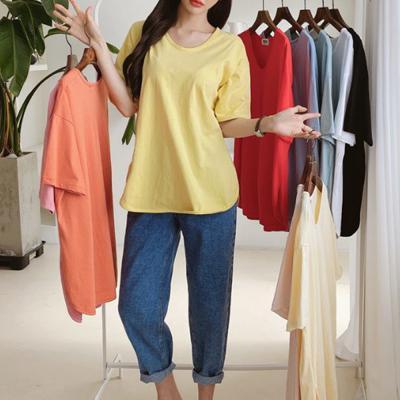 여자 여름 면 라운드 트임 핑크 반팔 티셔츠