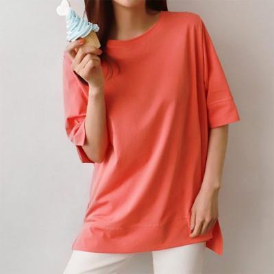 여자 여름 오버핏 박스핏 면 트임 반팔 티셔츠