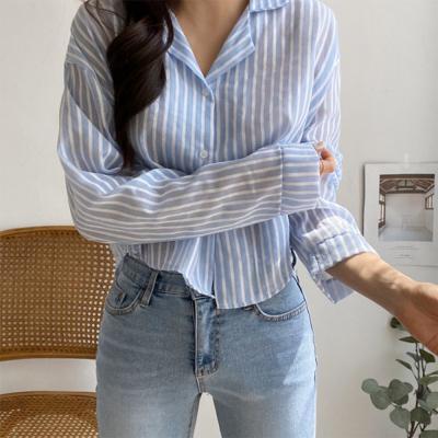여자 여름 스트라이프 줄무늬 카라넥 크롭 셔츠