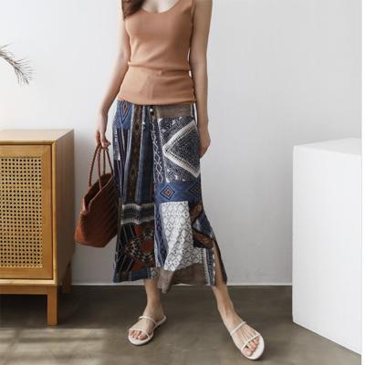 여자 여름 바캉스 와이드핏 믹스 패턴 팬츠