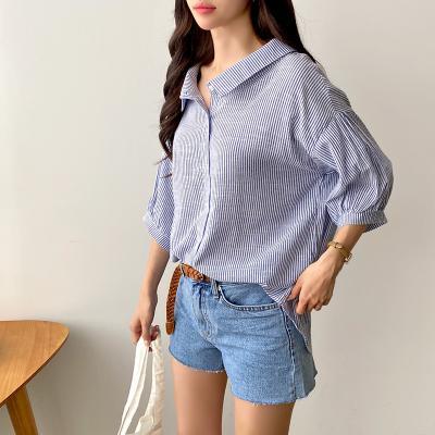 여자 스트라이프 브이넥 3컬러 봄 여름 셔츠