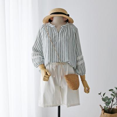 여자 레이스 라인 배색 스트라이프 3컬러 셔츠