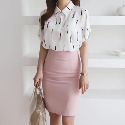 여자 사무실 기본 카라 봄 여름 반팔 블라우스