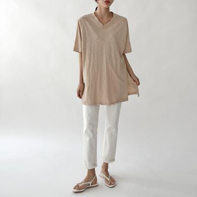 여자 브이넥 슬라브 오버핏 트임 반팔 티셔츠