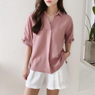 여자 오피스룩 리본 매듭 소매 핑크 블라우스