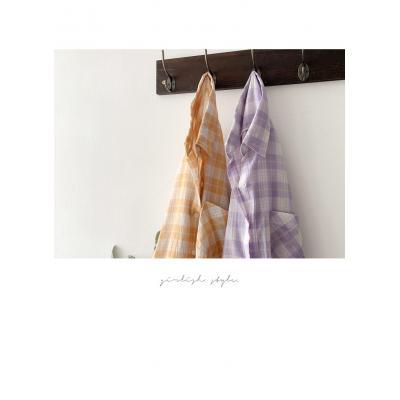 여자 여름 코튼 원포켓 언발 퍼플 체크 셔츠