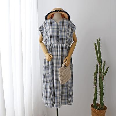 여자 여름 체크무늬 단추 플리츠 주름 롱치마 원피스