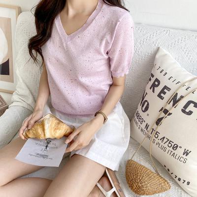 여자 여름 니트 페인팅 핑크 반팔 티셔츠