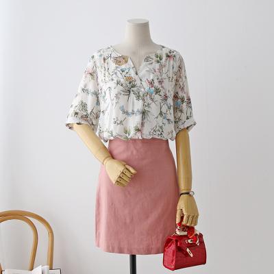 여자 여름 빈티지 플라워 꽃무늬 오픈카라 블라우스