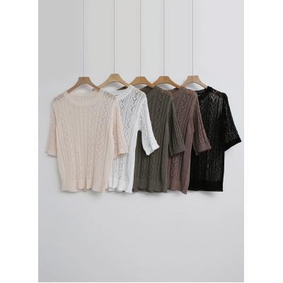 여자 여름 니트 스몰 꽈배기 라운드넥 반팔 티셔츠