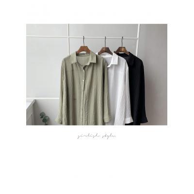 여자 여름 남방 골지 루즈핏 카라넥 롱 셔츠