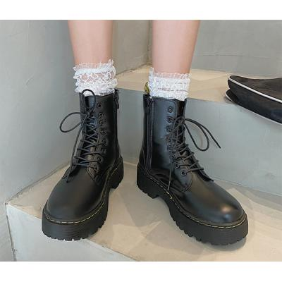 여자 미들 레이스업 둥근코 앵클 둥근코 신발 워커