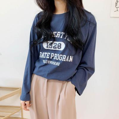 [1+1] 여자 학생 프린팅 U넥 루즈핏 긴팔 티셔츠