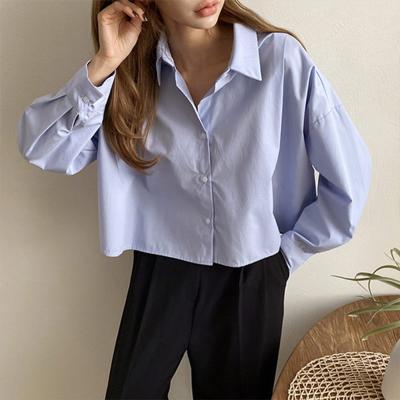 여자 숏 크롭 베이직 루즈핏 데일리 솔리드 셔츠