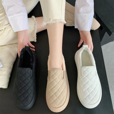 여자 겨울 털안감 밴딩 퀼팅 통굽 신발 슬립온