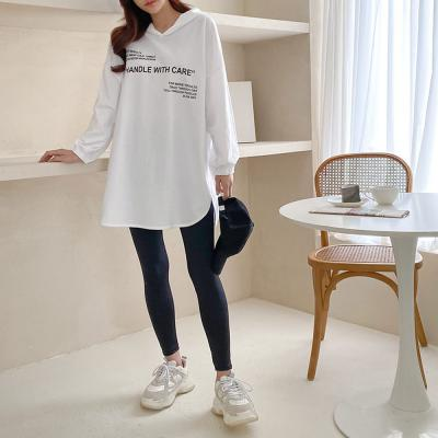 여자 후드 박시핏 롱 레터링 긴팔 티셔츠
