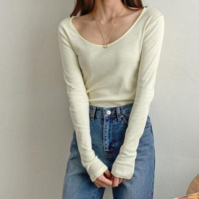 여자 간절기 라운드넥 여리한 롱 슬리브 티셔츠