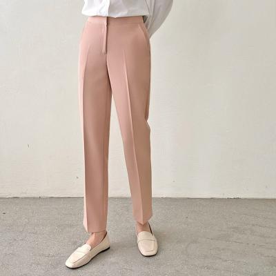 여자 봄 핑크 블랙 스판 일자 정장바지 베이직 슬랙스
