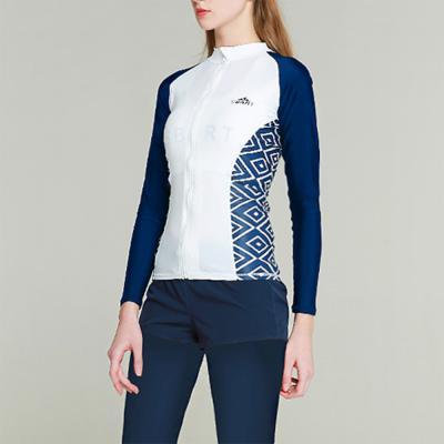 여자 라인 레쉬가드 패턴 화이트 가을 네이비 집업 자켓