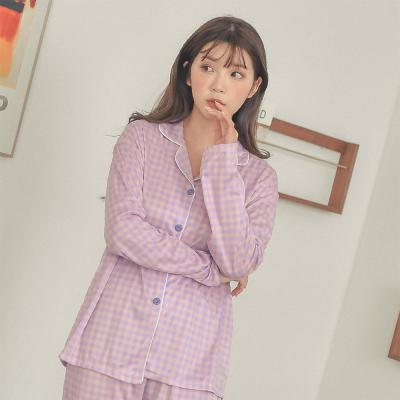 여자 보라 파자마 배색 체크 투피스 바지 잠옷