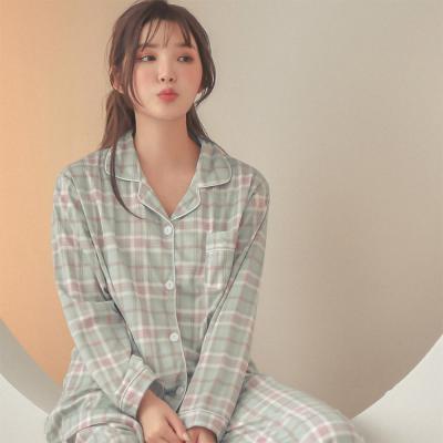 여자 오버핏 체크 셔츠 투피스 파자마 세트 잠옷
